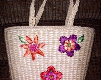 Vintage 1990 Large Pink, Purple and Orange Raffia Flowers Tote Bag Purse