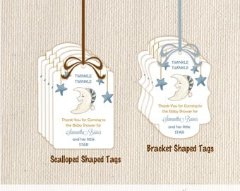 Baby Shower Favor Tags, stars, moon, twinkle twinkle, sprinkle, personalized, gift tags, 2x3 tags, thank you tags,  - T904