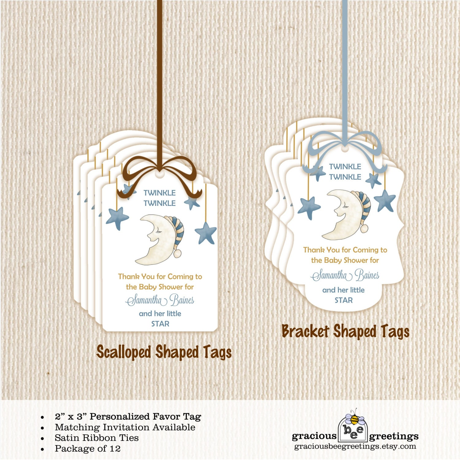 Baby shower favor tags stars moon twinkle twinkle - Baby shower favor tags ...
