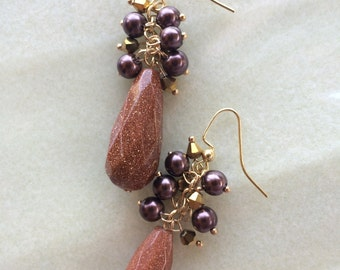 Large Goldstone Teardrop Earrings
