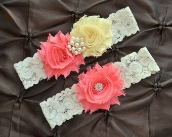 Wedding Garter, Bridal Garter Set - White Lace Garter, Keepsake Garter, Toss Garter, Coral Wedding Garter, Light Yellow Wedding Garter Belt
