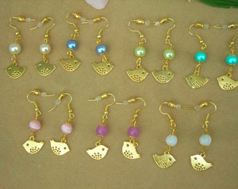 Every day jewel My little gold plated BIRDY & fx PEARL or glass beads charm EARRINGS. Choice of 7 colors