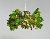Ceiling Light with green flowers and leaves  for rooms, bedroom, bathroom