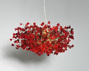 Red flowers Hanging chandeliers for dinning room, living room, office or bedroom.