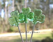 12 IRISH SHAMROCK Hard Candy Barley Sugar Lollipops Suckers Party Favors Gift St. Patrick's Day - APocketFullofSweets