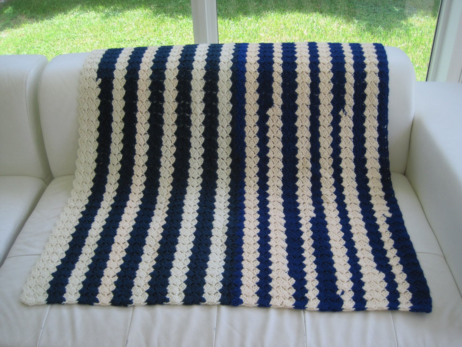 Anchor Knitting Pattern Blanket : Vintage Hand Knit Blanket Nautical Stripes Navy Blue and
