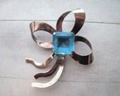 Vintage Art Deco Bow Pin Ribbon Style Rose Vermeil Sterling Silver Large Emerald Cut Aquamarine Blue Glass Stone 1940's JewelryAntique
