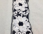 Antique Black and White Sequined Bridal Lace Trim (by the yard)