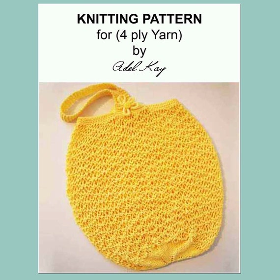 Knitting Pattern For A String Bag : Knitting Pattern PDF Document Bella String Beach Shopping