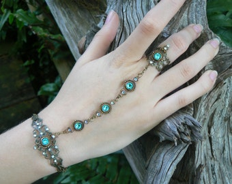 Turquoise slave bracelet Swarovski hand chain hand flower slave ring bohemian Mothers day victorian moon goddess pagan boho gypsy style