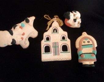Southwest Figurines, Four Terra Cotta figures,  Indian children,bull,  Storyteller Mother and Children,Mission,Tribal Figurines