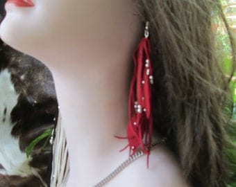 Red Deerskin Leather  Earrings With Silver  Beads And Leather Feathers