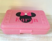 Personalized Minnie Mouse Pink Sparkle Pencil Box