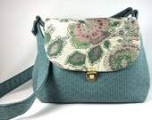 RESERVED Teal Handmade Fabric Crossbody Bag Purse with Floral Flap and Twist Lock