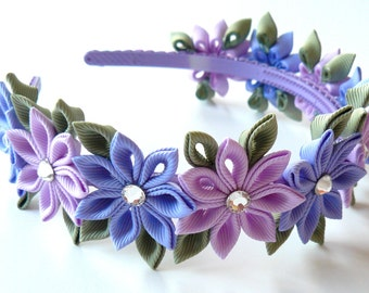 Orchid and iris Kanzashi Fabric Flower headband. .