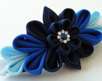 Kanzashi fabric flower french barrette.  Blue kanzashi barrette. Blue flower barrette. Shades of blue.