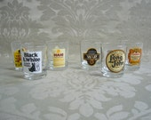 Burns Night - Toast the haggis with this 1960s set of six whisky shot glasses featuring famous scotch whisky labels