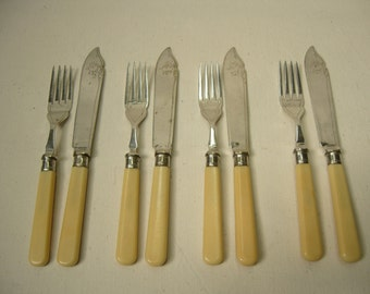 Vintage 1920s Silver Plated Set Of Four Fish Knives And