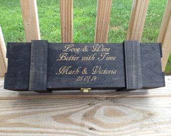 Engraved Wine Box Personalized Rustic Distressed Vineyard Wedding Gift Box