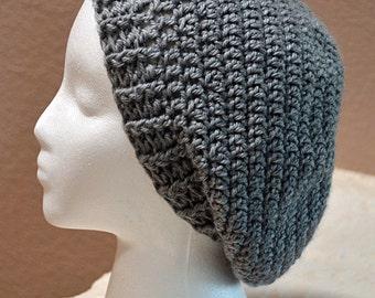 Crochet Beanie, Slouchy Beanie, Slouchy Hat, Winter Beanie, Women's Beanie, Heather Gray Beanie, Winter hat