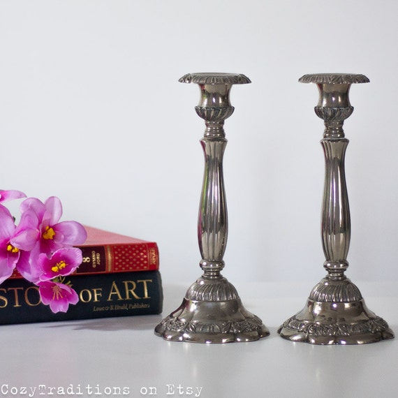 Silver Plated Candle Holders Victorian Style Candlesticks