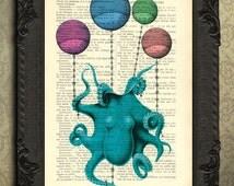 octopus print - Blue Octopus Dictionary Art Print, sealife art print, sea life mixed media, squid art, octopus decor