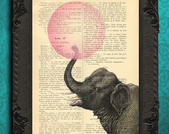 Elephant with bubblegum illustration bubble gum art elephant pink bubble print