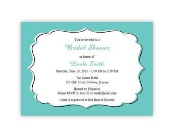 Teal Bridal Shower Invitations - DIY Printable Template - Instant Download - Microsoft Word Format