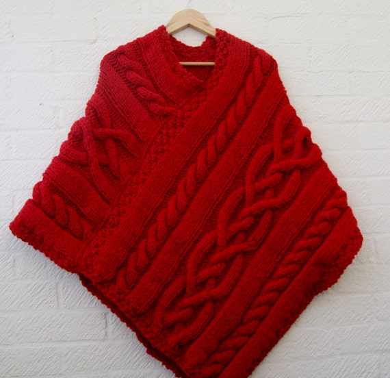 Merino Cape Knitting Pattern : Chunky knit Merino wool Poncho in Scarlet red/ Women Poncho/