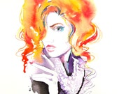 Original Watercolor Painting Woman Fashion illustration home wall decor wall art contemporary modern love fine art portrait