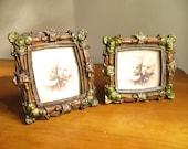 Vintage Metal Picture Frames, Two Frames, Pair of Ornate Frames, Brown Green