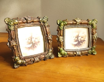 Vintage Metal Picture Frames, Two Frames, Pair of Ornate Frames, Brown Green