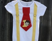 Curious George First Birthday Outift Tie and Suspenders Onesie