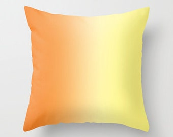 Orange Pillow Cover Includes Pillow Insert - Orange to Yellow Ombre - Throw Pillow Cover - Sofa Pillow - Decorative Pillow - Made to Order