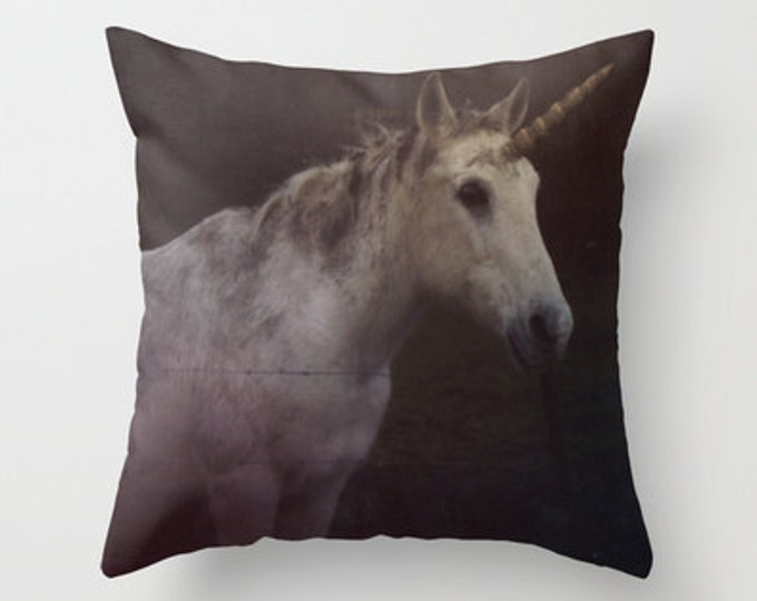 Unicorn Throw Pillow Cover Includes Pillow Insert - Animal Pillow - Fantasy Pillow - Photo Art - Horse Throw Pillow - Made to Order
