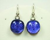 Dangle Earrings, Dichroic Glass, Blue,   er26