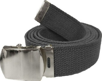 "Black Belt & Chrome Buckle 100% Cotton Military 54"" Long Web Belt"