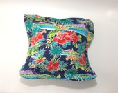 Tropical Pillow, Floral Pillow, Accent Pillow, Orange Flowers, Macaws, Gardenia Pillow