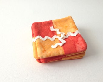 Orange Coaster Set, Tie Dye Coasters, Retro Coasters, Set of 6, Orange Coasters, Hostess Gift, Mug Rugs