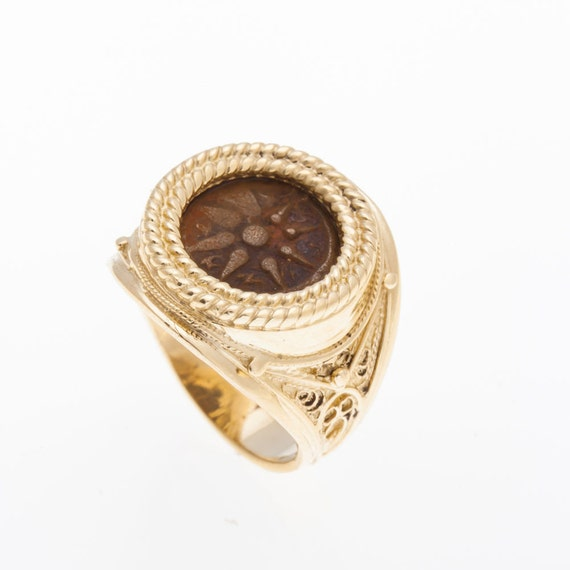 14K Yellow Gold Antique Rare Ring ,Bronze Widows Mite Coin Ring Unique, Size 8