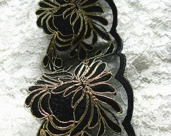 black lace trim, black alencon lace trim, gold embroidery lace lace
