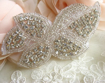rhinestone Applique, beaded rhinestone applique, bridal hair clip applique
