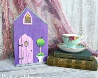 Fairy Cottage Fairy Village Radiant Orchid Pink Door Topiary Little House Miniature Door Architectural Art Acrylic Painting on Wood Tea Time