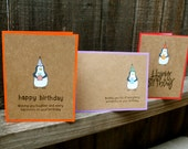 Handmade Happy Birthday Card Set, Penguin Happy Birthday, Cute Happy Birthday Card, Handmade Birthday Card, Set of 6