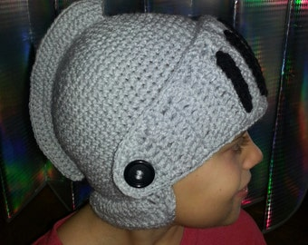 Hand Made Crochet Kids Knights Helmet with Nose and Chin Cover - Grey - Black - Adult - Boys - Medieval -