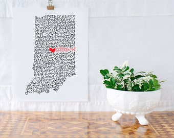 Indiana Heartland Illustration Print
