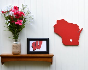 "Wisconsin Badgers ""State Heart"" wall art, handcrafted wood featuring official team colors"