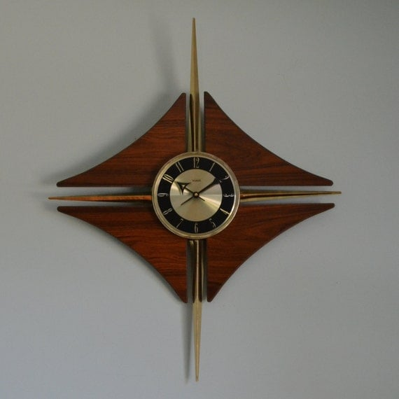 large mid century modern starburst style wall clock