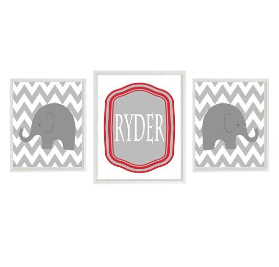 Elephant Nursery Wall Art Print Set Gray Red White Chevron Decor Name Personalize Customize