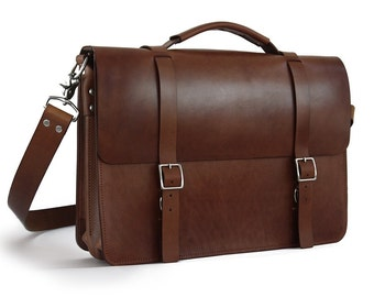 "16"" Messenger Bag / Briefcase, Full-Grain Leather"